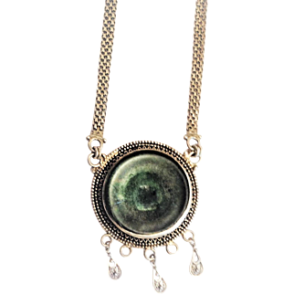 Vintage Silver Israeli Necklace set with Antique Roman Glass.