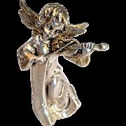 Vintage Silver sculpture of Angel playing the Violin . Israeli Art.