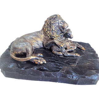 Vintage Silver sculpture of The lion and the Lamb