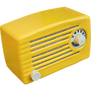 Sunflower Yellow 1951 Silvertone Mid Century Vintage AM Radio Model 1