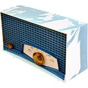 Neptune Blue and White 1961 Philco Mid Century Vintage AM Radio Model K821-124.  Beautiful!