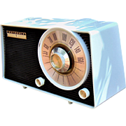 White and Black 1963 Motorola AM Radio Model A-25