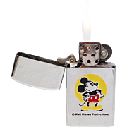 Working 1976 Mickey Mouse Zippo Slim Lighter with Box and Instructions - Rare Old Disney Vintage Zippo Slim Pocket Lighter - Made in the USA