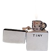 Working 1958 Zippo with Correct Insert - Factory Engraved - Tiny - Patent 2517191 Flip Top Pocket Lighter Made in the USA