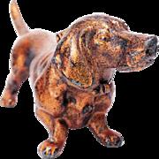 ANTIQUE DACHSHUND LIGHTER - Working 1912 Vintage Old Demley Figural Bronze Dog Lighter Made in Austria