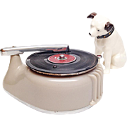 Vintage Record Player Lighter with RCA Nipper Statuette - Occupied Japan 1950s Figural Bakelite / Celluoid Table Lighter