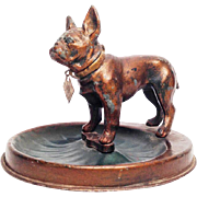 Antique French Bulldog Lighter w/ Base Working Rare 1912 Vintage Old Demley Figural Bronze Dog Lighter with Tag and Ashtray / Base - Austria
