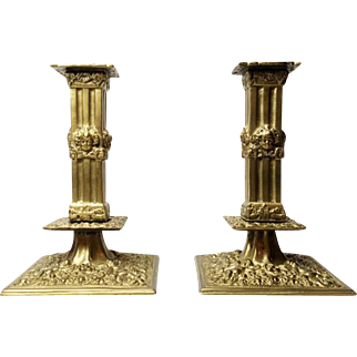 "Pair of French Antique Bronze Candlesticks ""A la Financiere"" - Putti Decor"