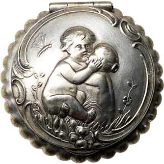 Delightful Silver Plate Pillbox with Cherubs Decor - Early 20th Century