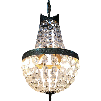 French Montgolfiere Chandelier - Gilted Bronze and Pampilles Chandelier