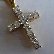 ONE Carat of White Diamonds on 18k Cross & Chain