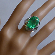 13 Carat…... REAL Emerald & Diamond Ring @ this price ! !