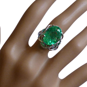 13 Carat…... REAL Emerald & Diamond Ring @ this price ! !