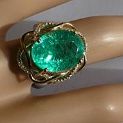 Large 9.52 Carat Emerald & Diamond Ring * * * * *