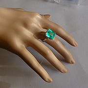 Very Large Emerald / Diamond Ring at a small price