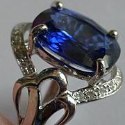 Over 4 ct. Sapphire & Diamond white Gold ring
