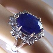 5.5 carat Natural Sapphire & Diamond Cluster Ring