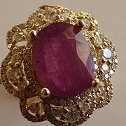 14kt Large Burma Ruby & Diamond Cluster Ring