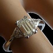 Fine Emerald cut Diamond & Trillion cut Diamond Ring