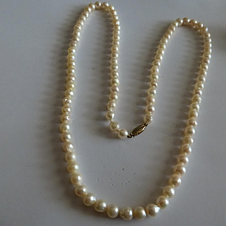 """98, 18"""" single Row of Cultured Pearls"""