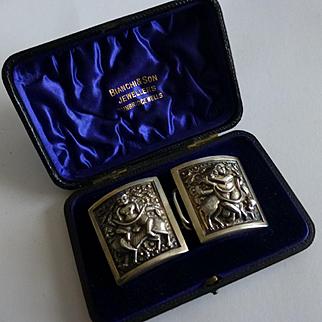 Cased Silver antique Buckles