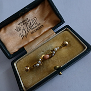 ENGLISH Antique Corral & Seed Pearl 18k Brooch