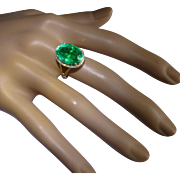 8 Carat Emerald & Diamond 14 k Cluster ring.