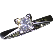 All Platinum, 0.53 Princess Cut Diamond Ring