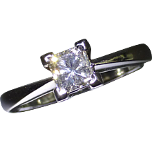 All Platinum, 0.53 Princess Cut Diamond Ring