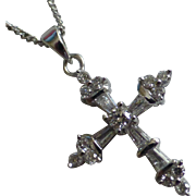 Natural Tapered & Brilliant cut Diamond Cross with Chain 40 cm