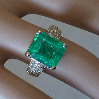5.35 Carat EMERALD & Diamond 14k Ring