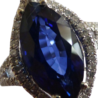 Marquise Shape Sapphire & Diamond Cluster Ring