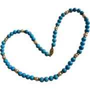 Turquoise &  Gold bead Necklace