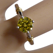 "A Carat ""Canary Yellow"" Platinum Diamond Ring"