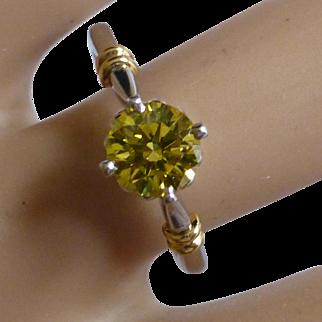 "A Carat ""Canary Yellow"" Platinum Diamond Ring"