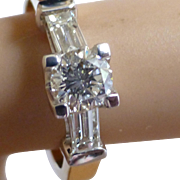 .90 Carat White Brilliant Cut Diamond & Baguette  Ring