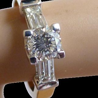 .90 Carat White Brilliant Cut Diamond & Baguette  Ring