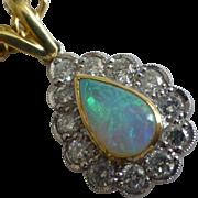 Fine Harlequin natural Opal & Diamond Pendent & Chain .