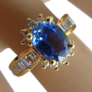Fine Oval  natural Sri Lankan Sapphire & Diamond Ring