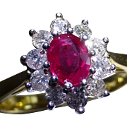 Pigeon Blood Ruby & Diamond 18k cluster Ring.