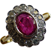 Quality Ruby & Diamond 18k Cluster Ring