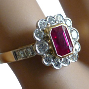 Wonderful 18k Ruby & Diamond Cluster Ring * * * * *
