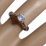Classic single Stone Diamond PLATINUM Ring * * * * *