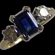 Emerald cut Sapphire & Diamond 3 Stone Ring
