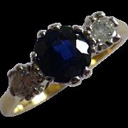 Round Sapphire & Diamond 3 Stone Ring