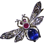 Diamond, Sapphire & Ruby Insect Brooch