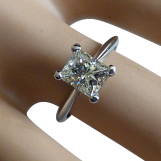Large Platinum Princess Cut Ring