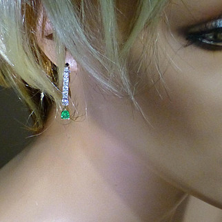 1 CARAT DIAMOND  & Emerald ear drops……... at this price !