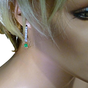 1 CARAT DIAMOND  & Emerald ear drops……... at this price !