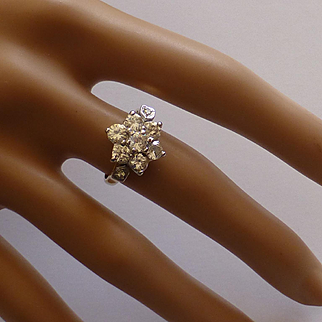 18k Large Diamond Cluster Ring